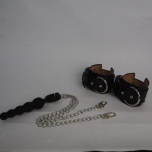 Leather Handcuffs with Dildo Butt Plug, shop: NoLimit 1